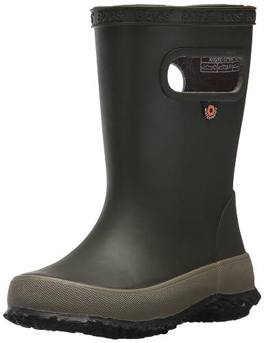 ad2fb5aa9 Bogs Kids' Skipper Waterproof Rubber Rain Boot for Boys and Girls,Solid  Dark Green
