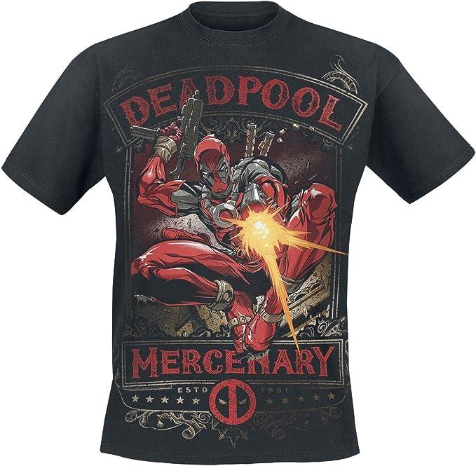 Deadpool Maglietta da Uomo Mercenary Marvel Cotton Black
