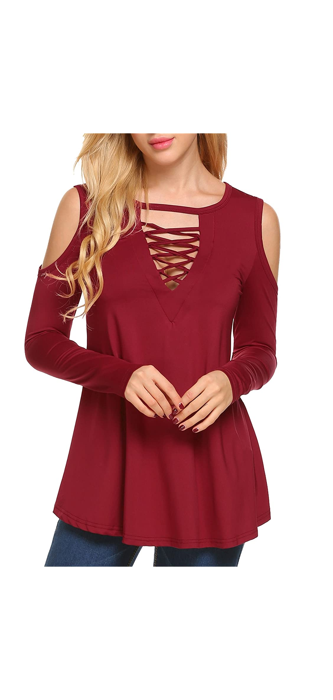 Women's Blouse Shirts Criss Cross Cold Shoulder Short V