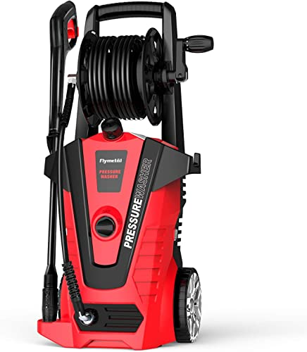 Flymetal Electric Pressure Washer 3500 PSI 2.2 GPM Professional Car Power Washer with Hose Reel and Adjustable Nozzles, Red