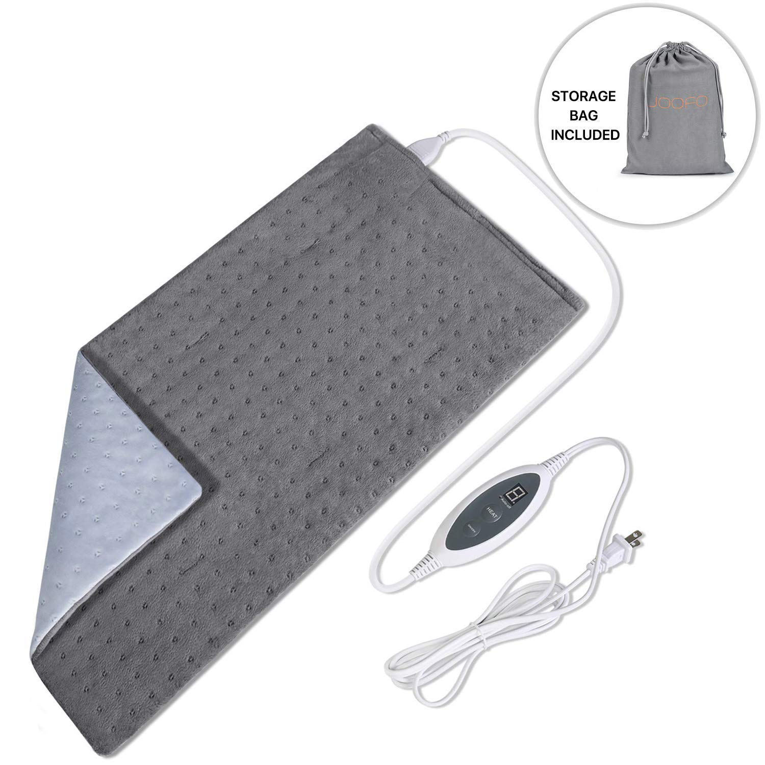 Joofo Heating Pad for Back Pain and Cramps Relief with Fast-Heating & 4 Temperature Settings, Moist Heat Therapy Option, Auto-Off and Machine Washable, 12'' x 24'' Ultra-Soft Heat Therapy Pad by JooFo
