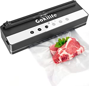 Vacuum Sealer Machine,Gokilife Automatic Food Sealer for Food Savers with Vacuum Air Sealing System,Dry&Moist&Soft Food 3 Modes Built-in Cutter Portable Vacuum Sealing Machine for Hands-Free Design with Vacuum Sealer Bags(Silver)