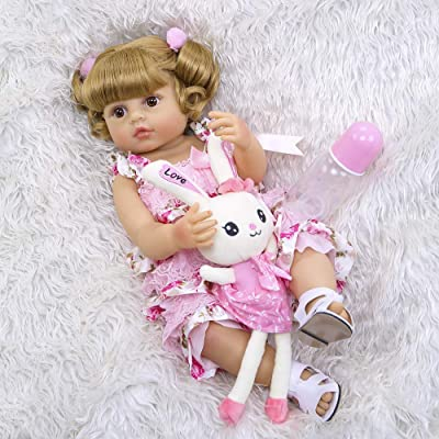 Reborn Toddler Dolls 22 inches Full Silicone Body Girls Reborn Babies Anatomical Correct Washable Blonde Hair Pink Outfits for Girls and Boys Gifts: Toys & Games
