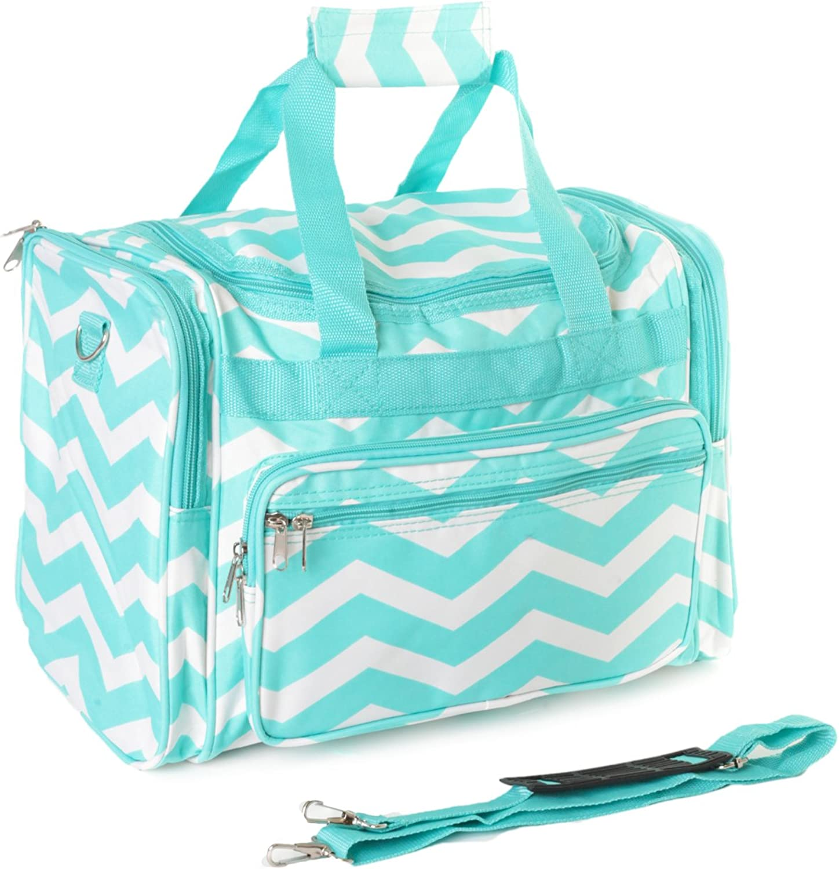 19 Light Blue White Chevron Print Carry On Duffle Bag