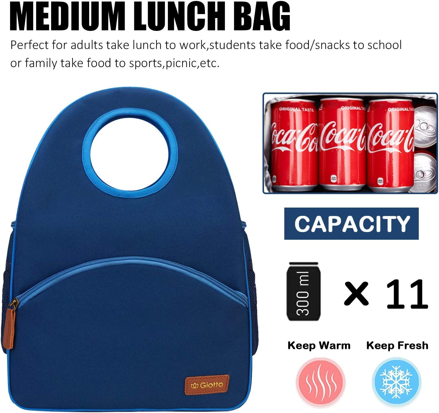 Large Cooler Tote Bag with Wide Opening /& Strong Handle For Office School Picnic Beach Giotto Insulated Leakproof Lunch Bag for Women//Men//Adult