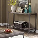 ACME Furniture 81449 Gorden Sofa Table, One Size, Weathered Oak & Antique Silver