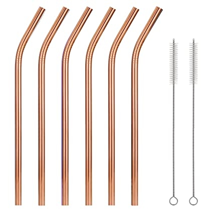 9fc25359e8c Bent 18/8 Stainless Steel Drinking Straws, Reusable Metal Straws 215mm x  8mm(