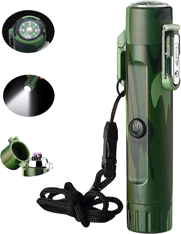 Encendedor eléctrico y linterna en uno, encendedor recargable USB de doble arco con brújula para supervivencia de emergencia, seguridad impermeable a prueba de viento para senderismo, aventura, campin