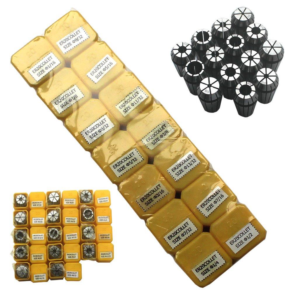 KIPA ER20 14 PCS Spring Collet Set 1/16'' 3/32'' 1/8'' 5/32'' 3/16'' 7/32'' 1/4'' 9/32'' 5/16'' 11/32'' 3/8'' 13/32'' 7/16'' 1/2'' CNC Super Precision for CNC milling Lathe Tool & Workholding Engraving machines