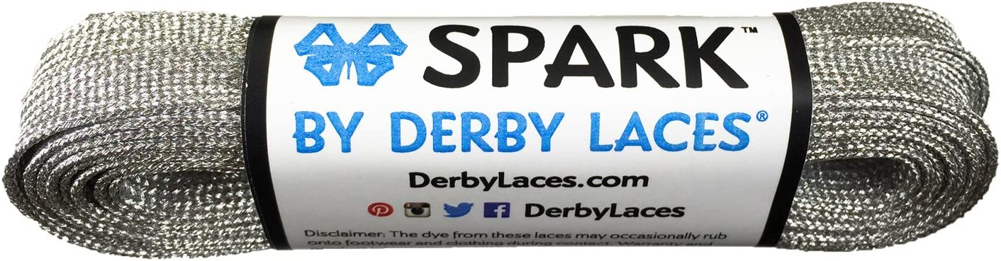 Derby Laces Silver 120 Inch Spark Skate Lace for Roller Derby Hockey and Ice Skates and Boots