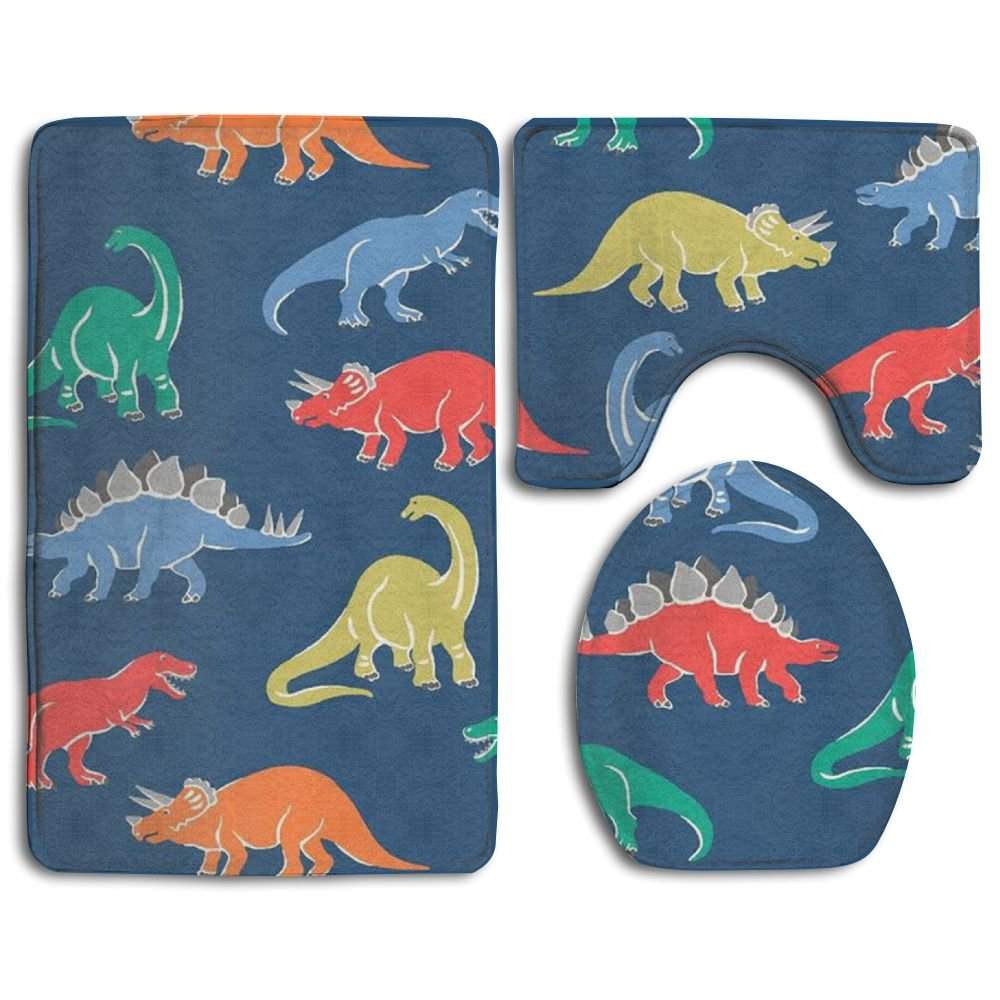 Cartoon Dinosaur 3 Piece Soft Bathroom Rugs Set Dries Quickly Anti Mite Bath Shower Mat U-shaped Lid Toilet Floor