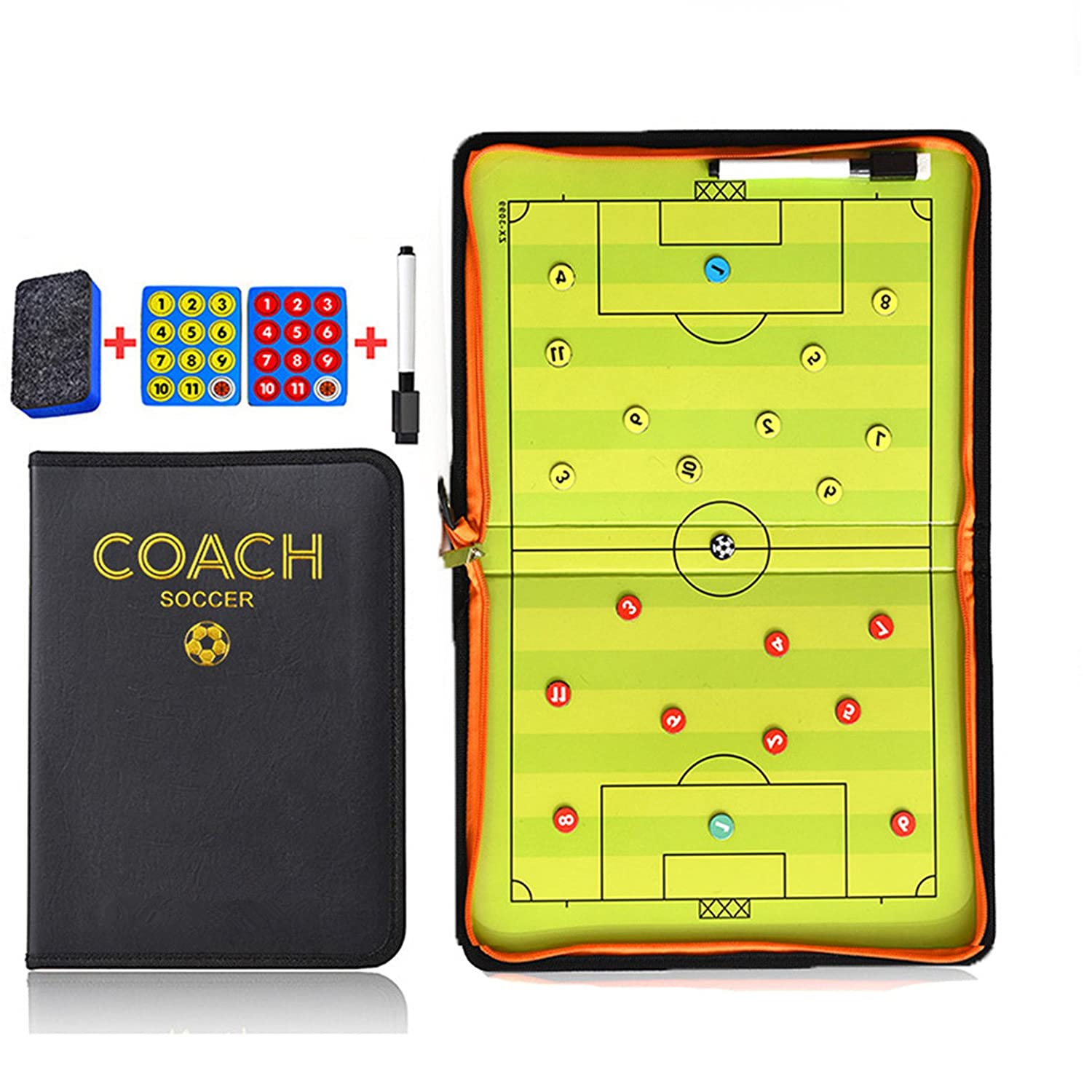 16.54'' x 11.02'' Coaches Tactical Board, RoseFlower Portable Professional Football/Soccer Magnetic Tactics Strategy Clipboard Training Assistant Equipment with Erasable Write-Wipe 2 in 1 Pen and Eraser