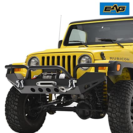EAG 97 06 Jeep Wrangler TJ Front Bumper With Winch Plate U0026 D Rings