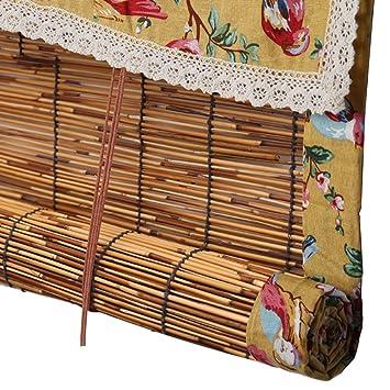 Amazonde Wenzhe Bambusrollo Fenster Sichtschutz Rollos Holzrollo
