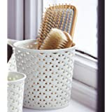 Curver Faux Rattan Dresser Storage Pot - Medium (perfect For Hair Brushes), White