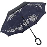 EverKing Inverted Umbrella Double Layer Cars Reverse Umbrella, Windproof UV Protection Big Straight Umbrella for