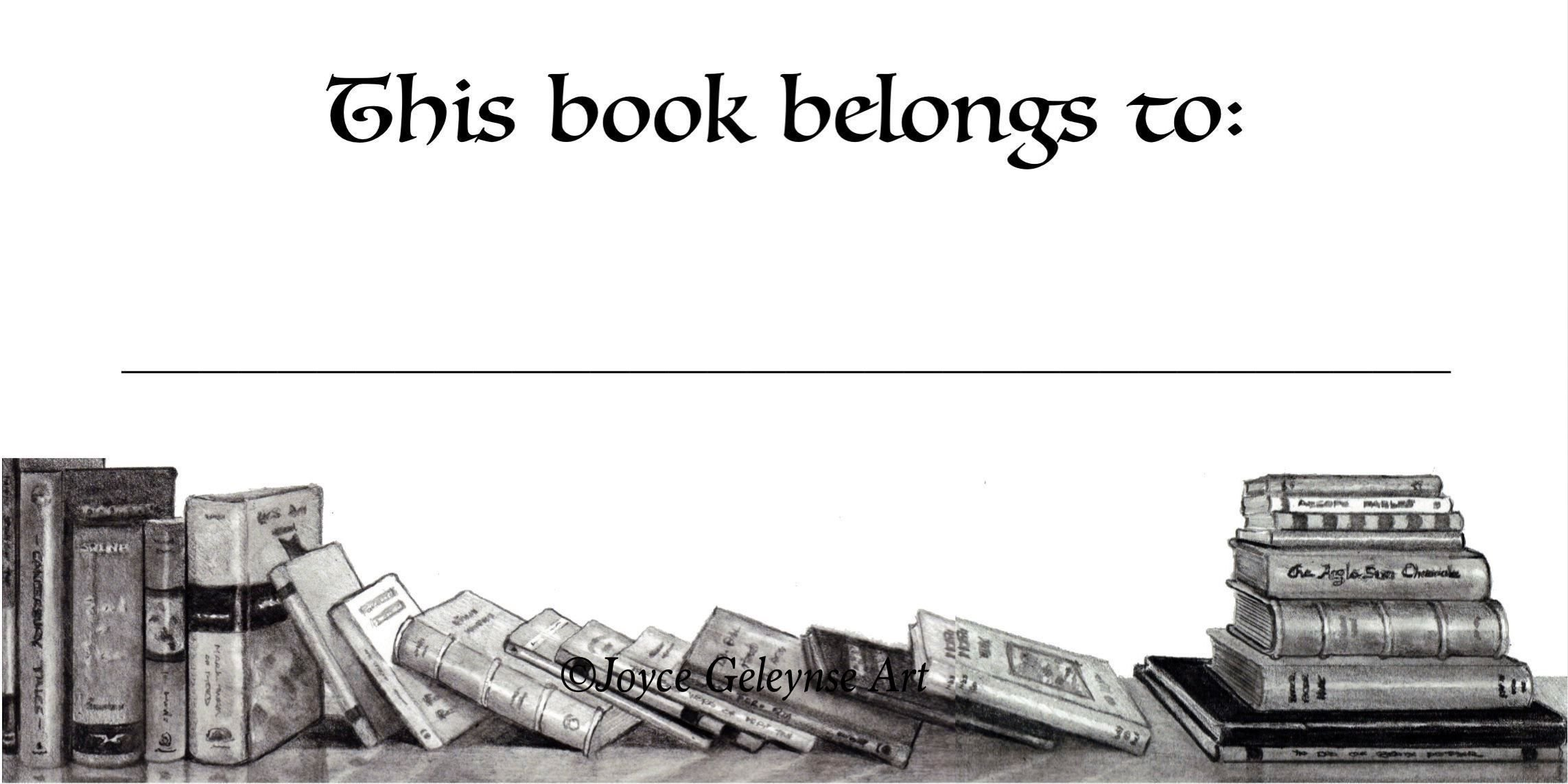 Book Stickers, Bookplate, Your Name, This Book Belongs To: Pencil Drawing of Books: Art