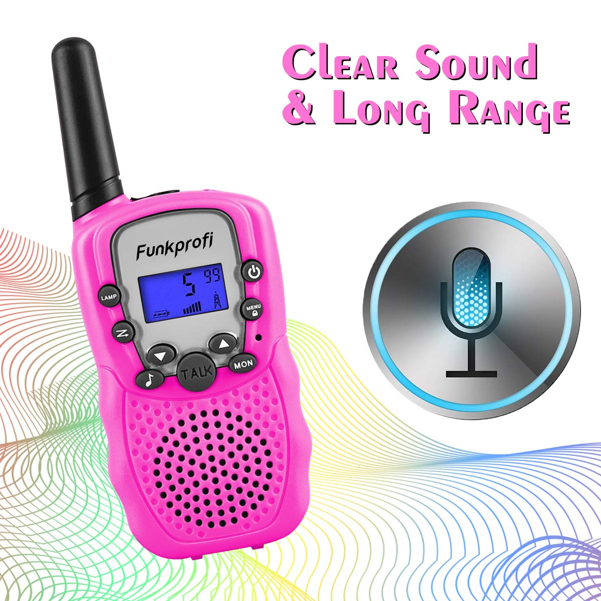 Funkprofi Walkie Talkies for Kids, VOX Hands Free Noise Canceling Kids Walkie Talkies with Belt Clip and LCD Screen, 22 Channels Long Range Two Way Radios for Camping Hiking Family Activities by Funkprofi (Image #3)