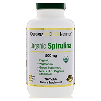 California Gold Nutrition Spirulina USDA Certified Organic Vegetarian 500 mg 720 Tablets, Egg-Free