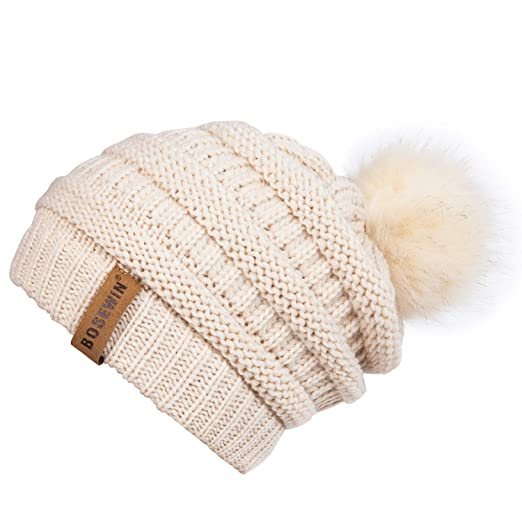ba1b7ed7bc3fd7 Women Slouchy Knit Beanie Chunky Baggy Hat with Faux Fur Pompom Winter Soft