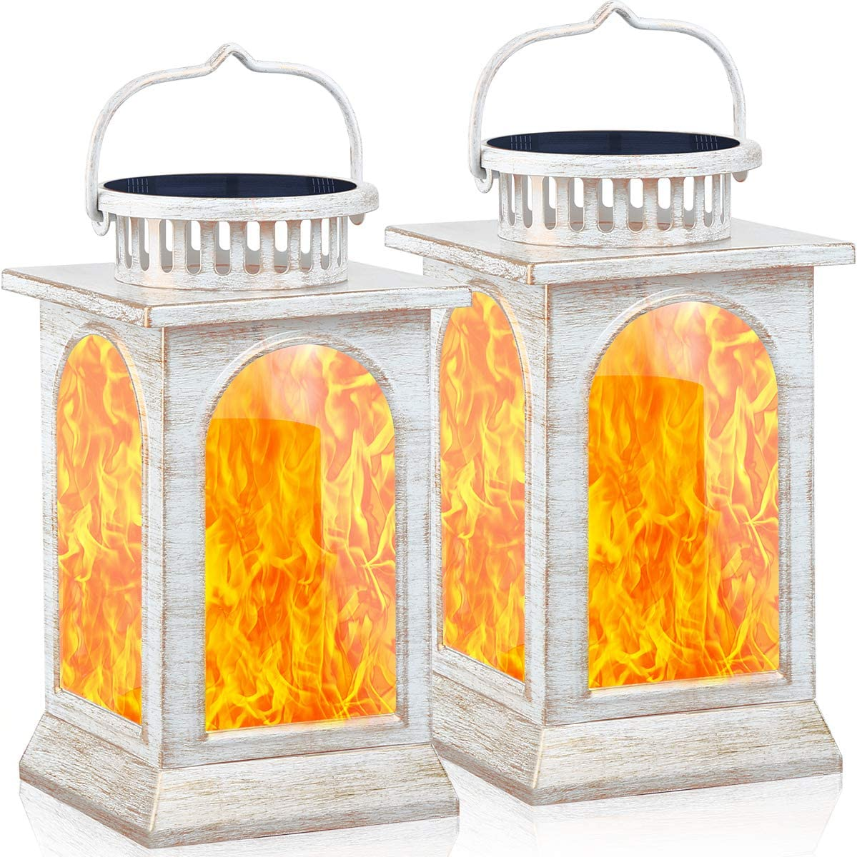 TomCare Solar Lights Flickering Flame Metal Solar Lantern Outdoor Hanging Decorative Lanterns Lighting Heavy Duty Solar Powered Waterproof Umbrella Lights for Patio Garden Deck Yard, 2 Pack (White)