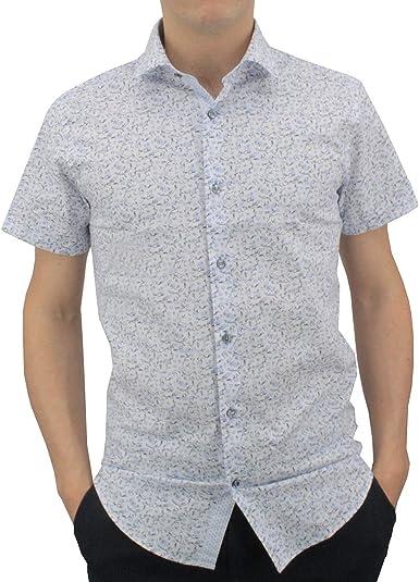Meadrine - Camisa para Hombre con Flores y Fondo Blanco y Azul: Amazon.es: Ropa y accesorios