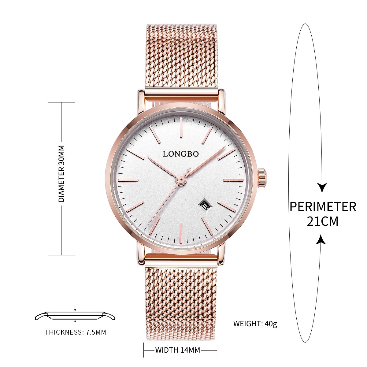 91615ee40a9e42 Amazon.com: LONGBO Simple Couple Watches Stainless Steel Band Analog  Display Quartz Women Watch Rose Gold Ultra Thin Dial Business Wristwatch  Date ...
