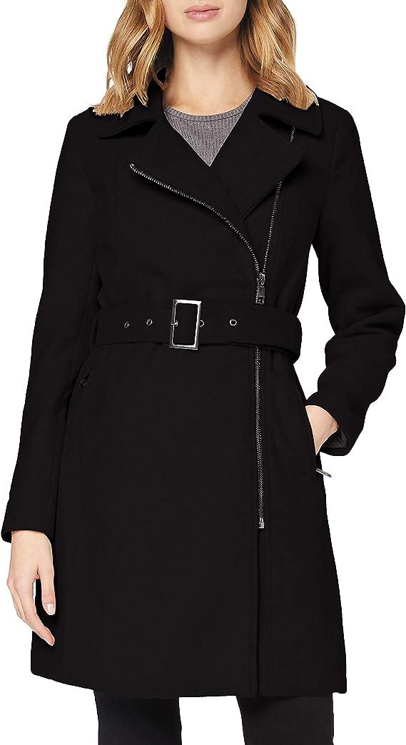 TALLA L. Only Onlolivia Long Biker Wool Coat Otw Abrigo de Mezcla de Lana para Mujer