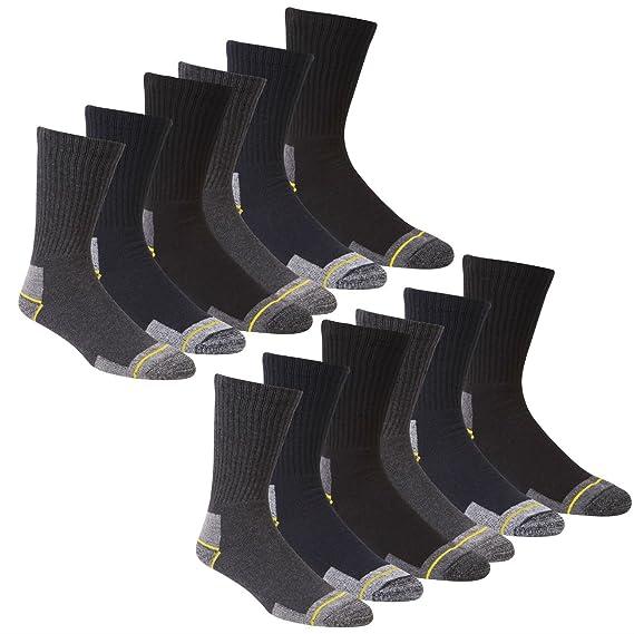 Calcetines de trabajo para hombre trabajo 12 pares calcetines para botas Talla 12 - 14 talón reforzado Toe Apoyo: Amazon.es: Ropa y accesorios