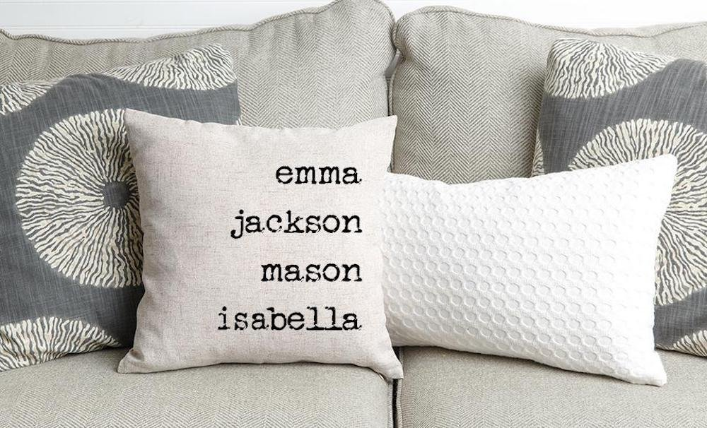 Qualtry Personalized Throw Pillow Covers Family House Decor 18 in x 18 in - Great Birthday Gifts for Mom and Grandma, Also a Unique Warming Gift (5 Names)