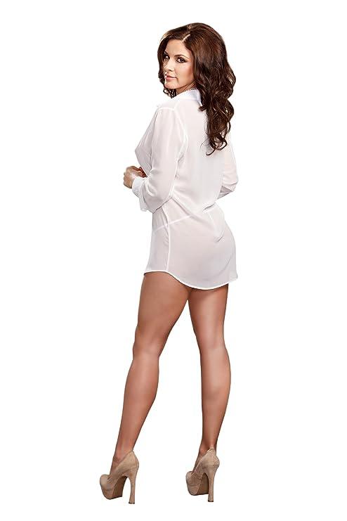 Amazon.com: iCollection Womens Chiffon Button Down Sleep Shirt: Clothing