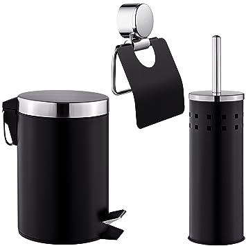 TecTake Set Salle De Bain Brosse Pour Toilettes Porte Papier Toilette Poubelle  Noir