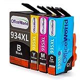 OfficeWorld Sostituzione per HP 934XL 935XL Cartucce d'inchiostro 934 935 Alta Capacità con Nuovi Chip per HP Officejet Pro 6830 6230 6820 6812 6815 6835 (1 Nero, 1 Ciano, 1 Magenta, 1 Giallo)