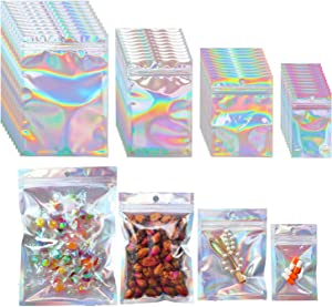 Beilecy 120 Pcs Smell Proof Bags Resealable Foil Pouch with Window and Euro Hang Hole Odorless Mylar Bags Heat Seal Pouch Food Safe Storage, Airtight Ziplock, Holographic laser silver,4 Size