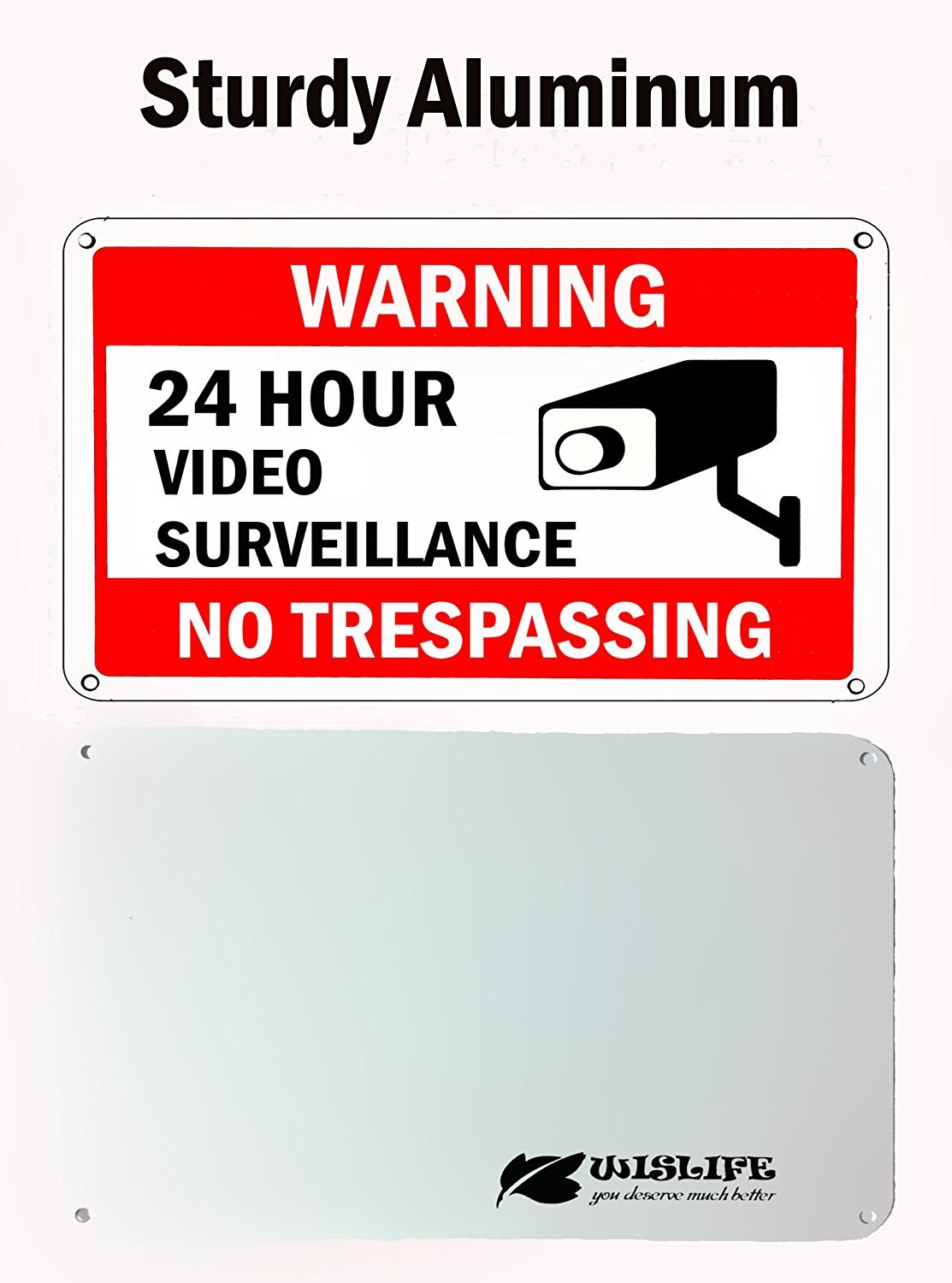 WISLIFE Video Surveillance Sign Set, 2 (10'' X 7'') Aluminum Warning Signs & 6 (6''X6'') Window Stickers, Video Security Signs by WISLIFE (Image #3)