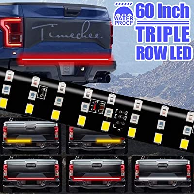 LED Tailgate Light Bar Triple Row, 60 Inch Tail Light Bar for Pickup Trailer SUV RV VAN, Red Brake White Reverse Amber Turn Signal Strobe Light with Standard 4-Pin Flat Connector, No Drill Install: Automotive