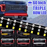 LED Tailgate Light Bar Triple Row, 60 Inch Tail Light Bar for Pickup Trailer SUV RV VAN, Red Brake White Reverse Amber…