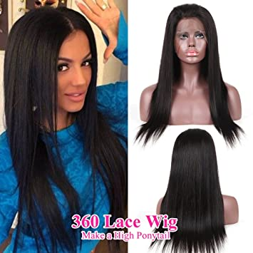 Amazon.com   ANNMODE 360 Lace Frontal Wig 180% Density Full Lace Human Hair  Wigs For Black Women Brazilian Straight Hair 360 Lace Wig Lace Front Human  Hair ... cdc0f7e3c