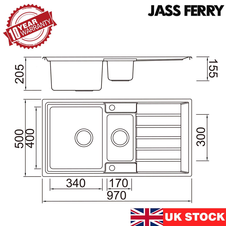 deux bacs avec /égouttoir r/éversible 1,5 l attaches pour tuyaux d/'/évacuation Jass Ferry/- /Évier de cuisine en acier inoxydable