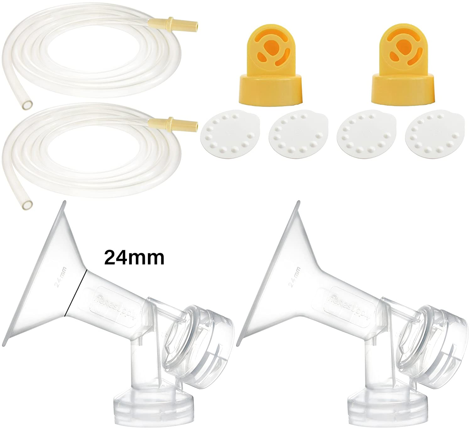 Breast Pump Kit for Medela Pump In Style Advanced Breastpump. Include 2 Breastshields (Replace Medela Personalfit 24mm), 2 Valves, 4 Membranes, and 2 Replacement Tubing for Medela released after July 2006. Replace Medela breastshield, valve, membrane Nenes