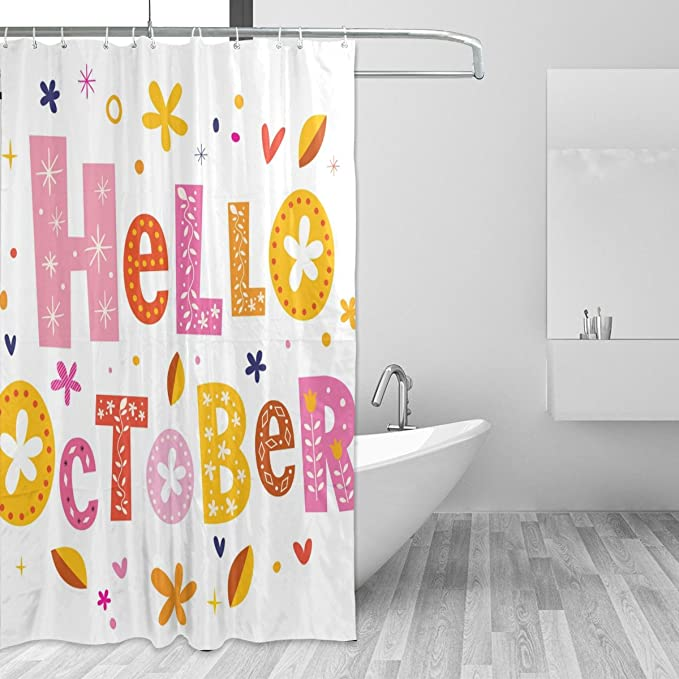 Amazon Com U Life Hello Autumn Fall October Decorative Bath Shower Curtain Bathroom Curtains 72 X 72 Inch Home Kitchen
