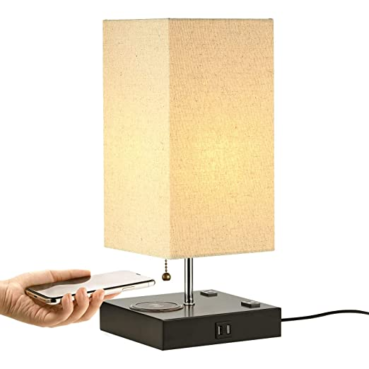 Amazon.com: Table Lamp with Wireless Charger and 2 USB ...