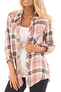 fbb877fe8e19 NUOREEL Womens Casual Plaid Soft Button Down Tops Roll Up Long Sleeve  Cuffed Blouse Shirts