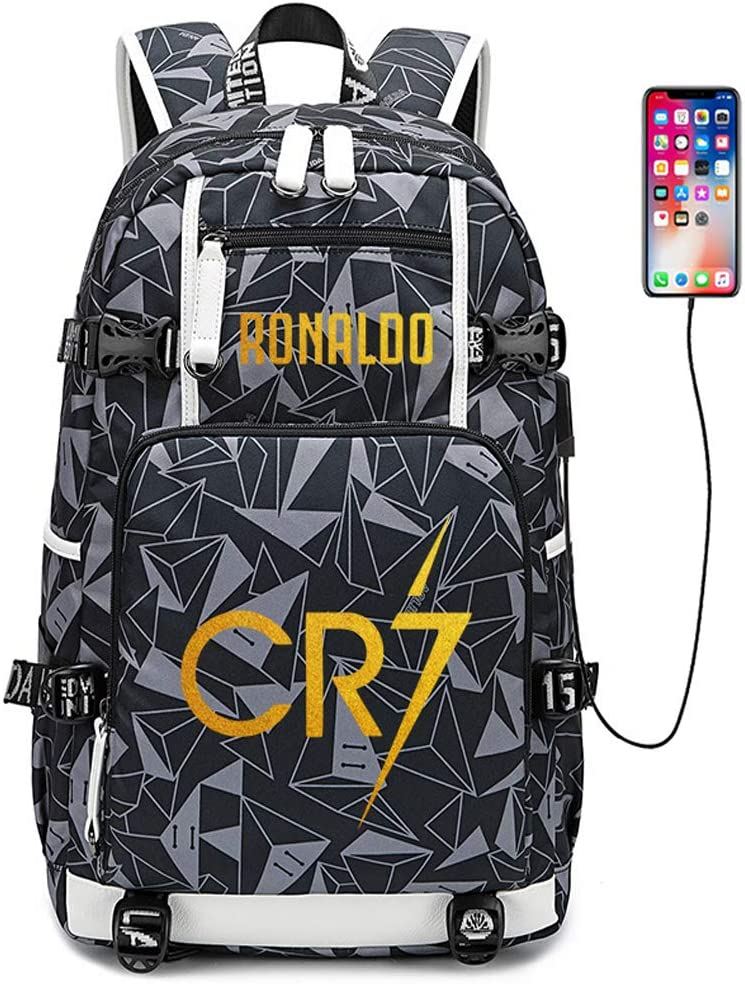 Lorhs store Fu/ßballer Star Cristiano Ronaldo Multifunktionsrucksack CR7 Reisestudent Rucksack Fans B/üchertasche f/ür M/änner Frauen