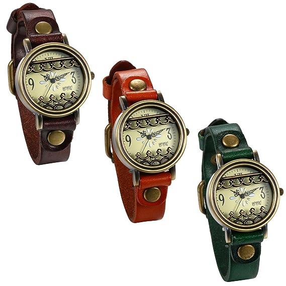 JewelryWe 3pcs Relojes de Pulsera para Mujer Correa de Cuero Estilo Retro Vintage Gótico Reloj Bronce
