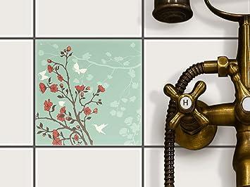 Creatisto Fliesenfolie Selbstklebend 15x15 Cm 1x1 Design Blütenzauber  (Grafik U0026 Illustration) Klebefolie Küche Bad