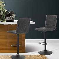 Artiss Set of 2 Vintage Leather Bar Stool Swivel 61-82cm Height Adjustable, Grey