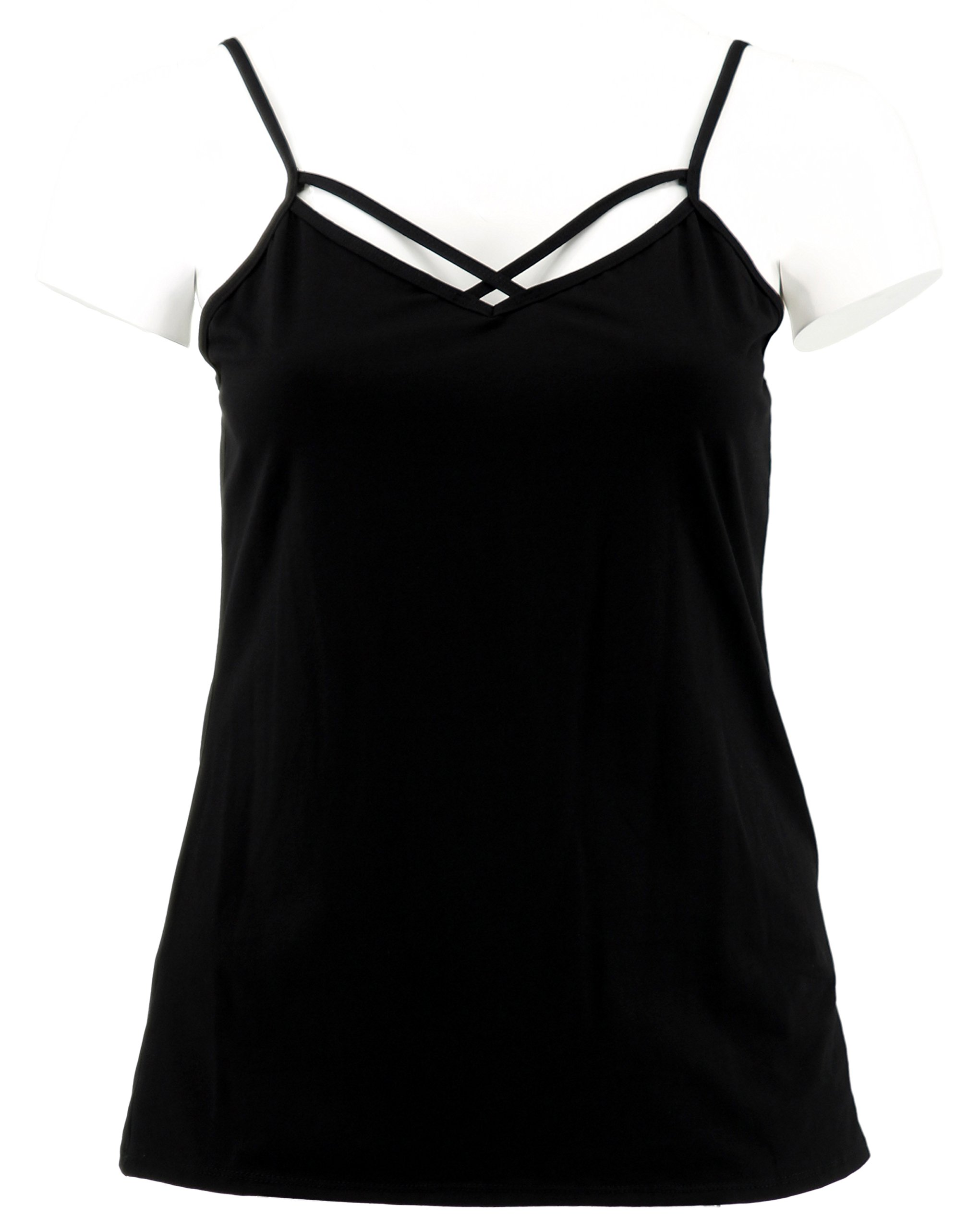 Stylish Criss-Cross Spaghetti Strap Cami (3X, Black)