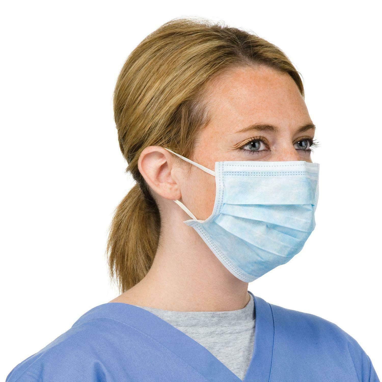 WSG 10x mascarilla dental quirúrgica médica de alta calidad, 3 capas, azul