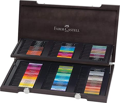 Faber-Castell 167400 - Estuche de madera con 90 rotuladores Pitt punta de pincel, multicolor: Amazon.es: Oficina y papelería
